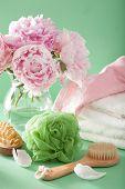 foto of bath sponge  - bath and spa with peony flowers brush sponge towels - JPG