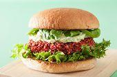 picture of quinoa  - vegan beet and quinoa burger with avocado dressing - JPG