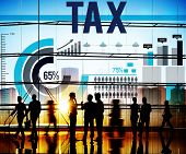 stock photo of income tax  - Tax Taxation Economy Income Money Financial Concept - JPG
