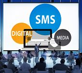 image of sms  - SMS Digital Media Message Chatting Communication Concept - JPG