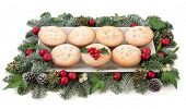 image of mistletoe  - Christmas mince pies on a plate with red baubles - JPG
