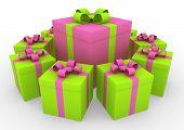 3d gift box circle green pink