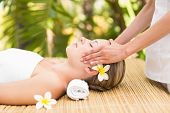 picture of day care center  - Close up of an attractive young woman receiving facial massage at spa center - JPG