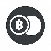 stock photo of bitcoin  - Image of coin with bitcoin symbol in black circle - JPG