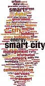 picture of smart grid  - Smart city word cloud concept - JPG