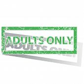 stock photo of adults only  - Green stamp with words ADULTS ONLY and shadow - JPG