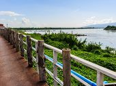 picture of kan  - Khong river at Ahong silawas Temple in Bueng kan Thailand stockphoto - JPG