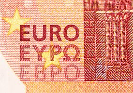 pic of tens  - Detail of a ten Euro note with Latin and Greek lettering - JPG