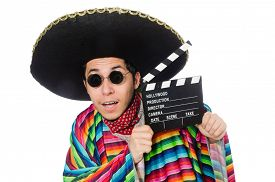 image of clapper board  - Funny mexican in poncho with clapper - JPG