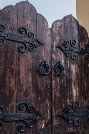stock photo of door-handle  - wooden door - JPG