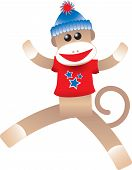 foto of sock-monkey  - Illustration of Fourth of July Sock Monkey - JPG