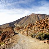 image of dirt road  - Dirt road to the volcano Teide on Tenerife - JPG