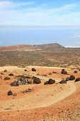 Teide landscape on Tenerife. A view of the hiking path at Montana Blanca within the national park sh