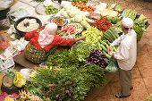 Vegetable Seller At Wet Market
