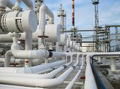 Постер, плакат: Heat Exchangers In Refineries The Equipment For Oil Refining Heat Exchanger For Flammable Liquids