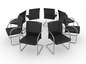Armchairs placed in the form of a circle - boardroom - business concept