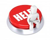 The person sits on the button, symbolizes the request for a help