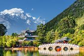 View Of The Jade Dragon Snow Mountain, Lijiang, China poster