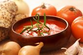 tomato soup. bowl of vegetable soup