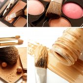 collage de productos de maquillaje