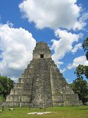 Facing To The Main Building Of Old Maya Ruins In The Jungle, Tikal, Guatemala