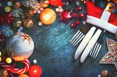 Christmas Dinner holiday table setting, Christmas and New Year celebration, served table with bauble poster