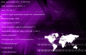 World Communications in Purple with Map Abstract