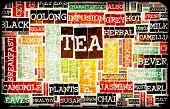 Assorted Teas Menu as a Food Drink Background
