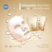 Facial mask sheet with gold collagen sachet on golden water oil bubble background. Skincare collagen poster