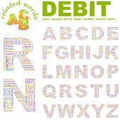 DEBIT. Wordcloud alphabet with different association terms.