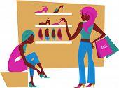 mujeres en el centro comercial