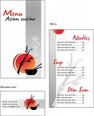 Template designs of menu and business card for Asian restaurant and cafe