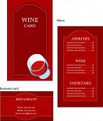 foto of cocktail menu  - Template designs of wine menu and business card for coffee shop and restaurant - JPG