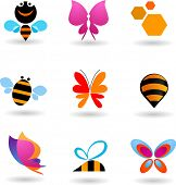 collection of butterfly and bees icons and symbols, vector design
