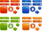 Collection of many colored, glossy web elements and buttons