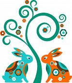 stock photo of pasqua  - Easter tree with bunnies - JPG