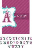 Template customary design for greeting card and alphabet