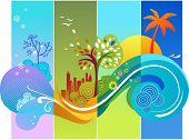 Plantilla de calendario de diseño - cuatro estaciones