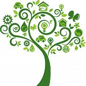 stock photo of environmental protection  - Green tree with many environmental icons - JPG