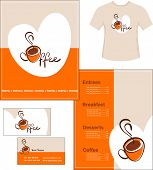 Template designs of menu, t-shirt and business card for coffee shop and restaurant, vector file incl