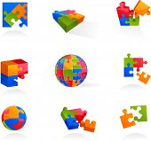 Set of vector puzzle icons and elements - 2.