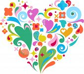 cute decorative heart for Valentine's day greeting card with many design elements
