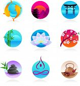 A set of icons in Chinese, Japanese and Indian style - spirituality and wellness theme