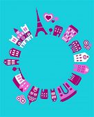 Vector illustration of Paris landmarks with colorful icons of trees and buildings