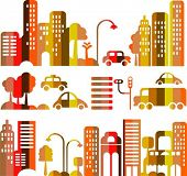 Vector illustration of an evening city street with  icons of cars, trees and buildings