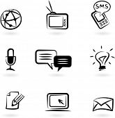 Collection of black and white communication icons