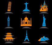 Icon set with famous international historical landmark monuments, black background