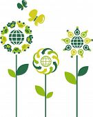 Eco flower symbols - green energy theme