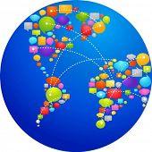 Постер, плакат: Глобус из мысли пузыри