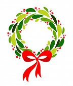 stock photo of christmas wreath  - Christmas wreath with red bow - JPG